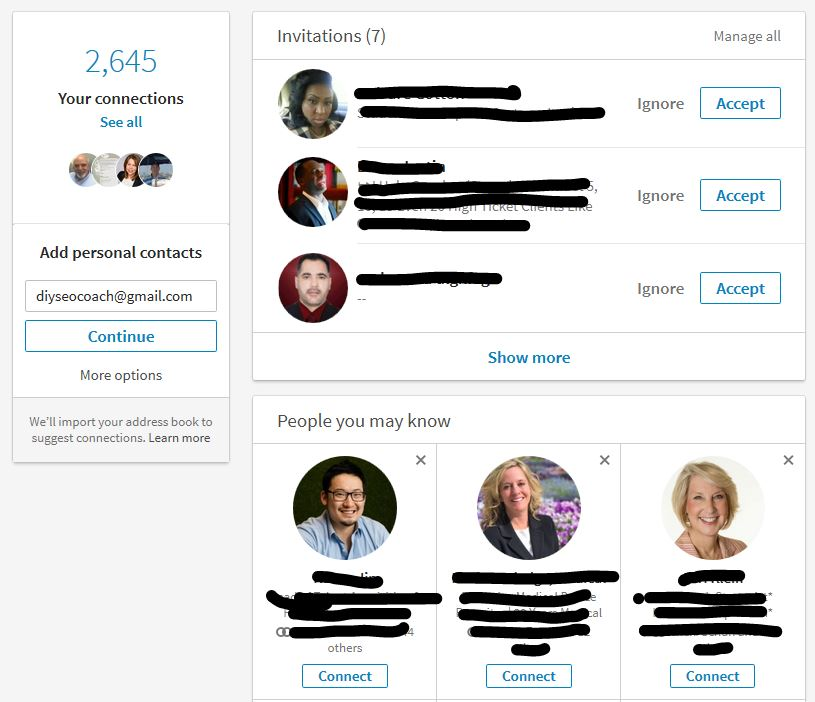 Your LinkedIn Connections Page
