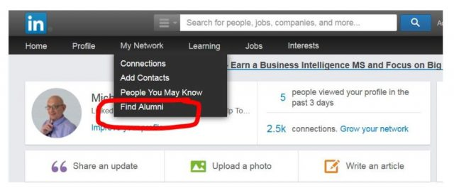 LinkedIn Older Find Alumni on Nav Bar
