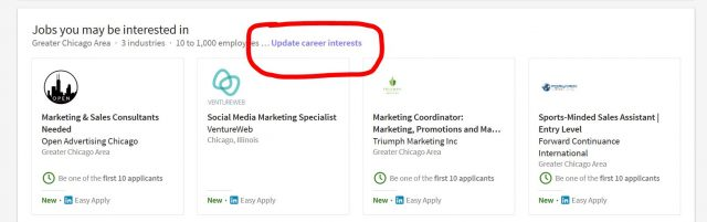 Update LinkedIn Career Interests Preferences